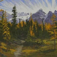 glowing larch meadows - above moraine lake  SOLD