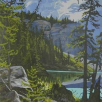 path along waters edge lake o'hara  SOLD
