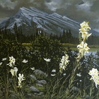 wildflowers standing before mount rundle SOLD