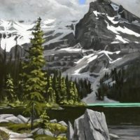 fallen rock on shoreline SOLD