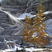 larches at oesa lake in september SOLD