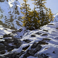 larches standing on path to opabin lake SOLD