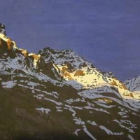 last light on lake o'hara mountain tops SOLD