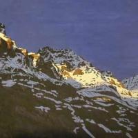 last light on lake o'hara mountain tops SOLD