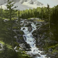 light crossing mountain stream SOLD