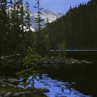 mountain glow behind the lake SOLD