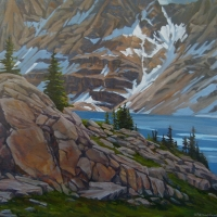 rocky shores of lake macarthur