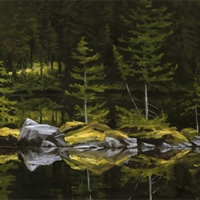 rocky spit reflection on lake ohara