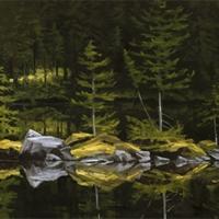rocky spit reflection on lake ohara