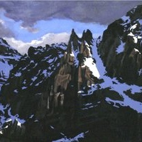 rugged peaks catching last light SOLD