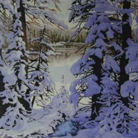 snow laden trees SOLD