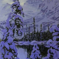 tree branches heavy with snow